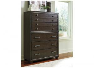 Brown Zimbroni Five Drawer Chest