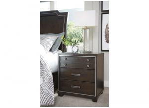 Brown Zimbroni Three Drawer Night Stand
