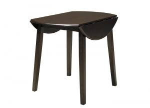 Dark Brown Hammis Round Dining Room Drop Leaf Table