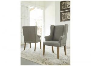 Light Blue Ollesburg Dining Upholstered Arm Chair (2/Cn)